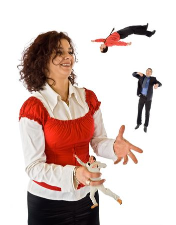Business woman juggling with mans photo