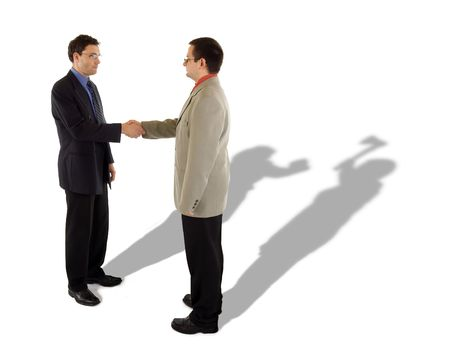 ax man: Business handshake and the real truth behind Stock Photo
