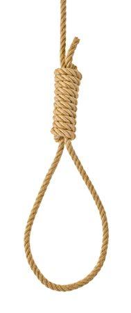 ahorcado: Lazo de cuerda colgando [aislados en blanco] Foto de archivo
