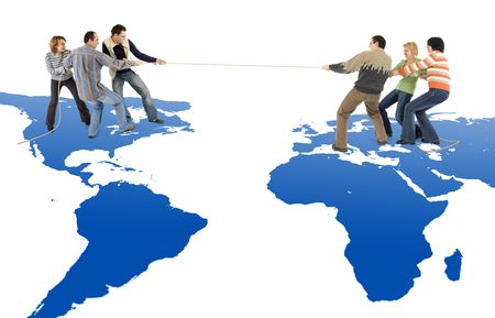 Tug of war between America and Europe photo