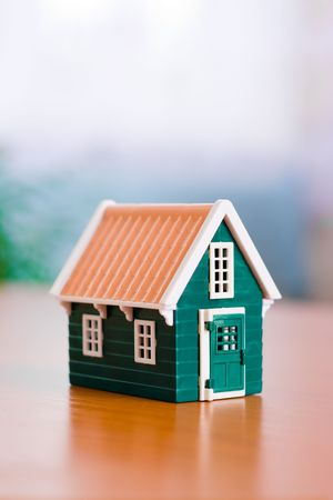 Miniature toy house on the table