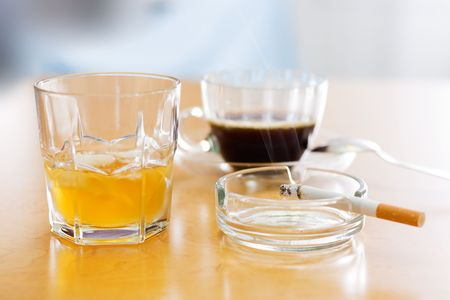 Three dangerous items: alcohol, coffee and cigarette (smoking) photo