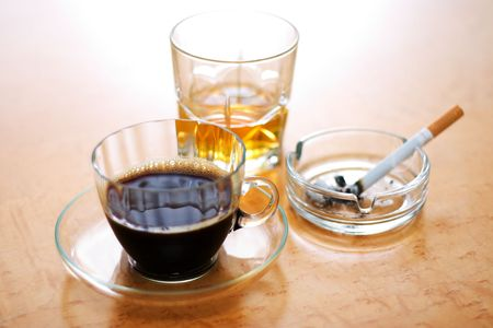 Three dangerous items: coffee, cigarette (smoking) and alcohol