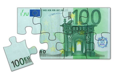 Simple 100 Euro puzzle toy, one piece left to complete (High resolution photorealistic 3d render) photo