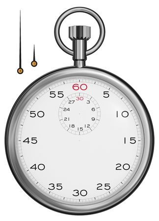 elapsed: Front view of a stopwatch isolated on white [high resolution 3d render]. Hands included separately. Stock Photo