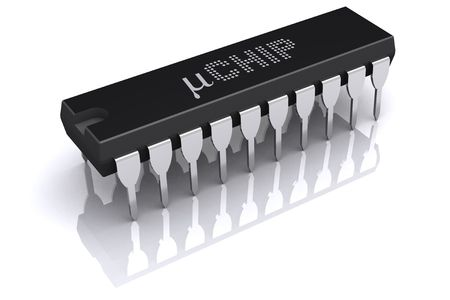 dipping: Illustration of micro chip, dual-in-line package (High resolution 3d-render) Stock Photo
