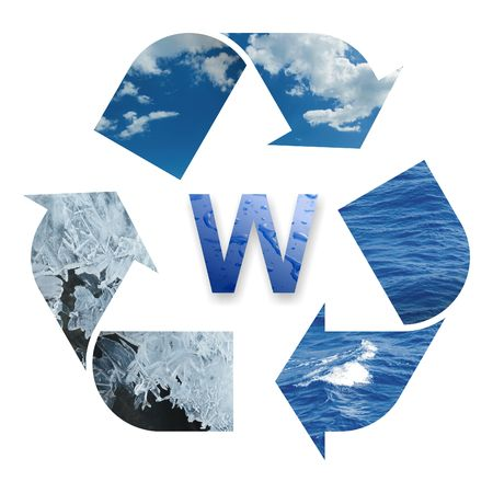 The recycling water's three phase: ice, vapor and liquid 스톡 콘텐츠