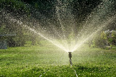 Irrigation system throwing water drops away