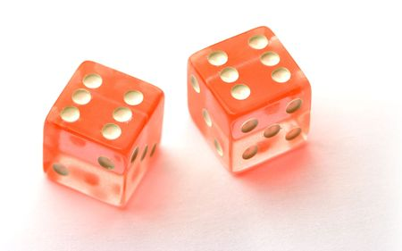 double the chances: Transparent red dices on white, showing six - six