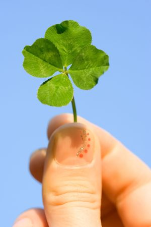 four hands: Female hand holding a four leaf clover against the blue sky Stock Photo