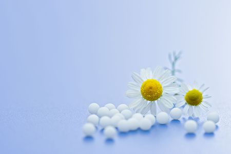 homeopathic: Chamomile flower and homeopathic medication on blue surface