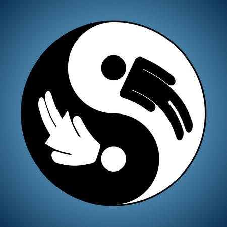 Modificado Yin y Yang signo que muestra el hombre y la mujer siluetas Ilustración de vector