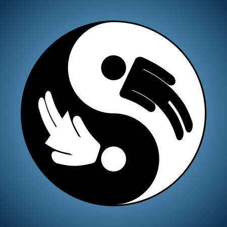yin yang: Modified Yin and Yang sign showing man and woman silhouettes Illustration
