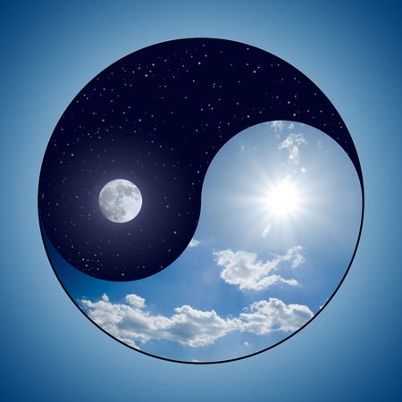 yin yang symbol: Modified Yin & Yang symbol - sunny day versus moon at night