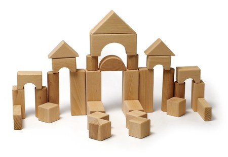 Construction toy made of wooden blocks Stock Photo