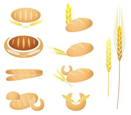 Collection of bread, baguette, corn and wheat ear illustrations