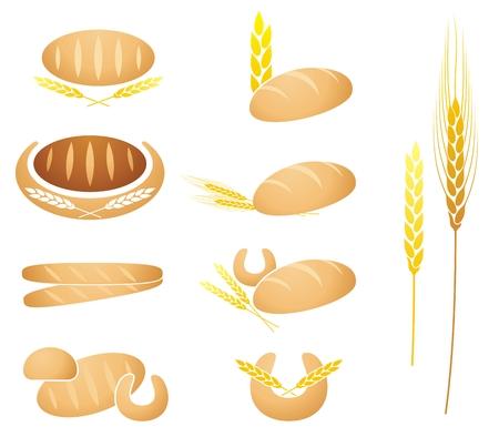 Collection de pain, de baguette, de maïs et de blé oreille illustrations