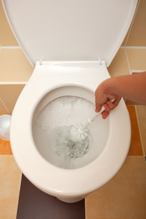 toilet brush: Hand washing the open toilet with brush Stock Photo
