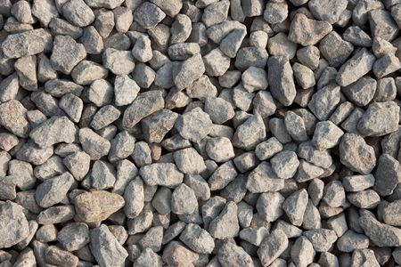 artificially: Gravel texture from the top. Artificially broken pebbles on the ground Stock Photo