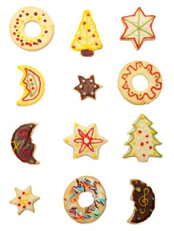 shaped: Collection of various handmade christmas cookies, covered and decorated with chocolate and colorful sugar Stock Photo
