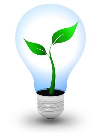 Light bulb with a growing plant inside photo