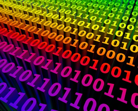 binary code: Colorful extruded 3d binary numbers representing a virtual space Stock Photo