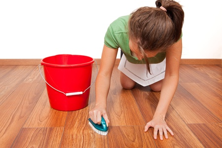 Woman cleaning the floor by hand with brush Stock Photo - 8393641
