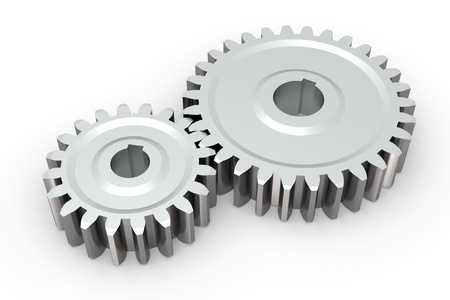 systems thinking: 3d render of connecting metallic gears on white