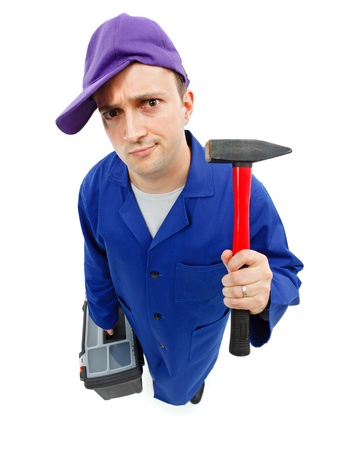 Top view of an awkward repairman with hammer and toolbox