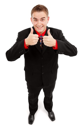 Happy young man showing double thumbs up with both hands photo