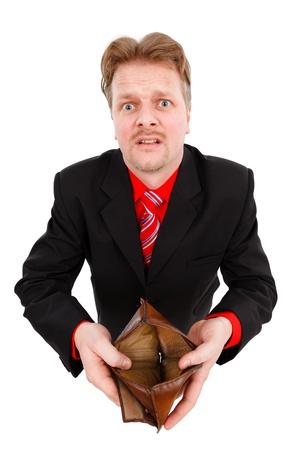 Situaci�n financiera de un hombre triste, mostrando su billetera vac�a