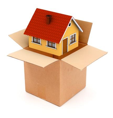 uitpakken: Verpakking of uitpakken van een klein huis in kartonnen doos. Conceptuele weergave van leveren of het kopen van een nieuwe huis