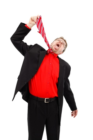 Business man hanging himself with his tie photo