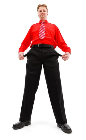 empty pocket: Poor business man pulling out his empty pocket Stock Photo