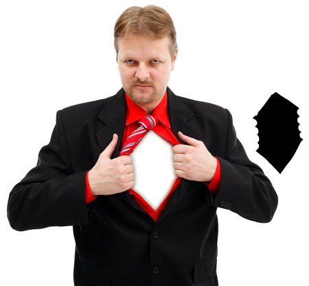 Super man revealing himself by opening shirt. Mask of opening attached Stock Photo - 9277000