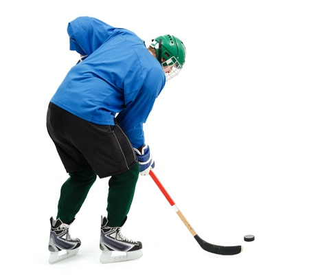 Ice hockey player in blue wear and green helmet photo