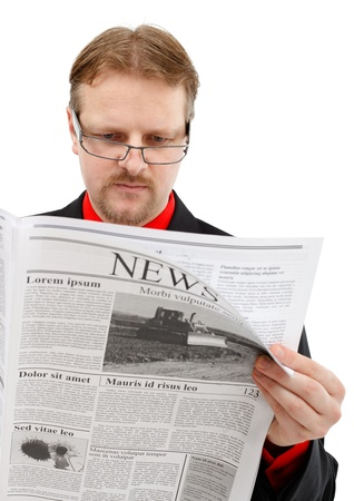 Man reading news. Lorem ipsum newspaper photo