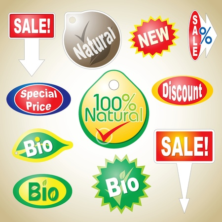 Various sale icons for natural and bio products, special, discount and reduced price Stock Vector - 9276903