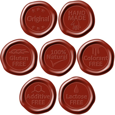 Illustration of old style wax seals for various products illustration