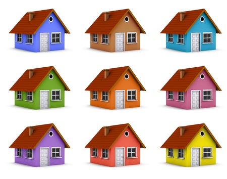 3d bitmap: Colorful simple house collage. 3d rendered bitmap Stock Photo