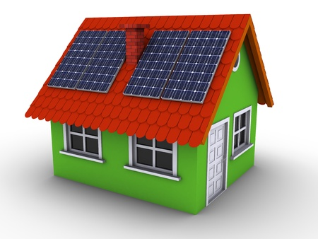 solar panel house: Simple green house with solar panels on the roof. 3d rendered bitmap