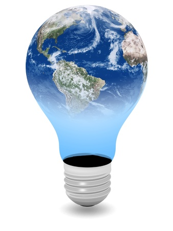 Bulb and planet earth combination representing eco energy and objects photo