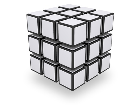 cube: Assembled whole 3x3 cube with floating parts