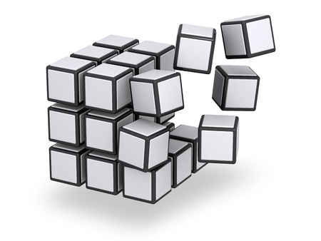 cube: Floating parts of assembling or disassembling 3x3 cube