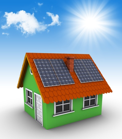 Simple green house with solar panels on the roof. 3d rendered bitmap photo