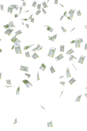 euro banknotes: Money rain of 100 euro banknotes Stock Photo