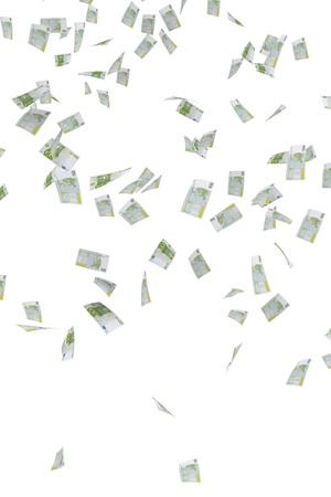 banconote euro: Pioggia di denaro delle banconote in euro 100 Archivio Fotografico