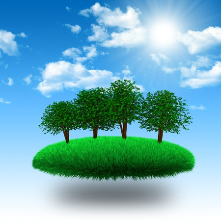 floating island: Floating grassy island with tree under sunshine. 3d rendering
