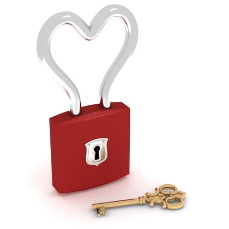 Candado coraz�n cerrado con llave de oro Foto de archivo - 9517449