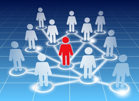 global networking: Schematic view of a social networking members on blue